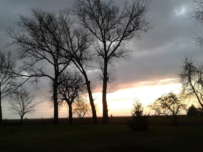 Sonnenuntergang in Stolpe auf Usedom im Dezember